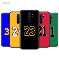 Basketball 23 24 Glück Anzahl Weichen Fällen für Xiaomi Redmi Hinweis 9S 8 9 8T 7 10 Pro 9C 9A 7A 8A 6A TPU Schwarz Telefon Abdeckung Coque