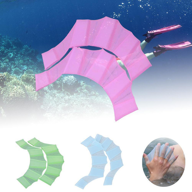 1 Pair Webbed Gloves Silicone Flippers Hand Web Flipper Training Diving Gloves Webbed Gloves For Women Men Kids Swimming Tool