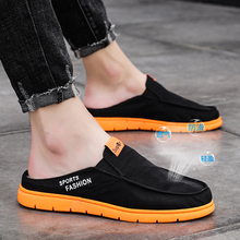 Black Half Shoes for Men Canvas Shoes Men Breathable Casual Shoes Men Fashion Canvas Slippers Mocassin Homme Chaussure 2020 2020 summer cool rhinestones slippers for male gold black loafers half slippers anti slip men casual shoes flats slippers wolf