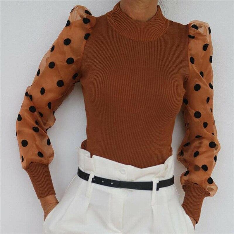 Femmes printemps maille bouffée à manches longues côtelé tricoté chemise ample décontracté à pois Blouse hauts élégant col roulé fête Clubwear