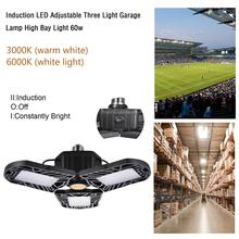 Датчик радара, светодиодная лампа для гаража, НЛО, деформированная промышленная лампа E27, светодиодный светильник с высоким заливом 60 Вт, 85-265 в, светильник для мастерской, стояночный, складской светильник s
