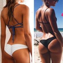 Bikini brasileño con parte inferior atrevido para mujer, bañador Sexy con Tanga en V, ropa de baño para mujer, bragas, ropa interior, pantalones cortos de baño para playa OPK