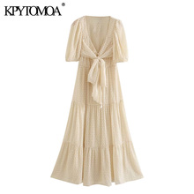 KPYTOMOA Women 2020 Chic Fashion With Bow Tied Polka Dot Mid