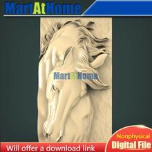 Modelo 3d stl cabeça de cavalo para cnc roteador gravura & 3d impressão alívio apoio zbrush artcam aspire cut3d
