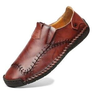 Image 2 - Nowe miękkie PU skórzane buty męskie szycia ręcznego męskie buty na co dzień Trend skórzane buty męskie miękkie dno buty outdoorowe Plus rozmiar 48