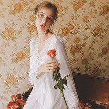 Cotton Nightdress Female Autumn Long-Sleeved Lace Court Palace Dream Lotus Leaf Skirt Elegant Romantic Princess Dress GZ33