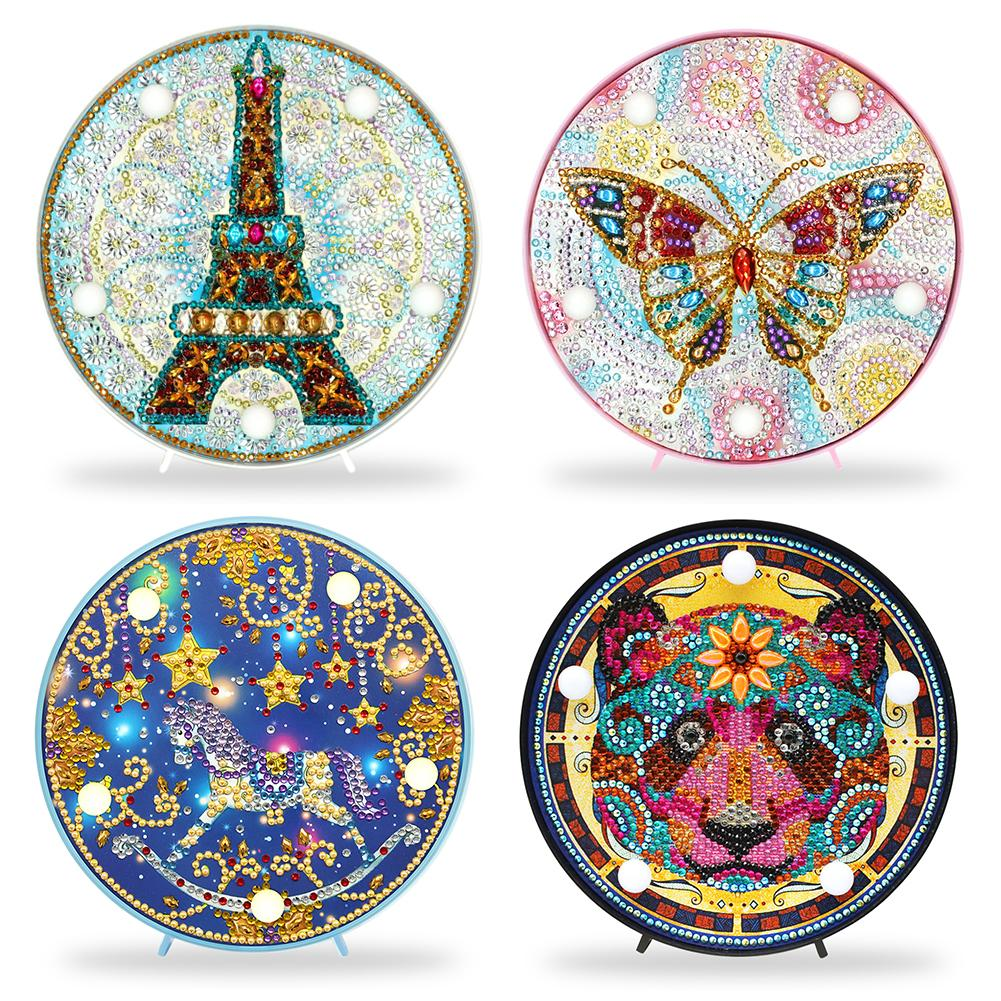 Newest DIY Diamond Painting LED Night Lamp Full Drill Embroidery Mosaic Kit Christmas Decorations Gift For Kids Fast Shipping