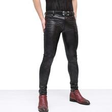 Черный Змеиный узор для мужчин Slim Fit эластичные удобные брюки из искусственной кожи длинные джинсы для моды для мужчин Клубная одежда