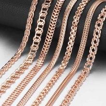 Collier Vintage en or Rose pour hommes et femmes, 585, bordure vénitienne, escargot Foxtail, chaînes à maillons, à la mode, 50cm 60cm, CNN1