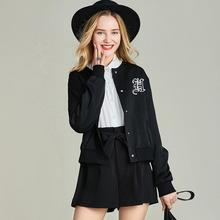 HAVVA весна и осень новая черная короткая куртка с круглым вырезом полиэстер Женская Повседневная бейсбольная куртка W4205