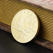 1 pçs canadá 20 dólares moeda de ouro canadense folha de bordo rainha réplica comemorativa moedas presente token transporte da gota