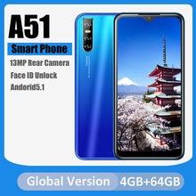 Telefones celulares desbloqueado a51 quad core android5.1 face id desbloqueado 6.26 polegada hd tela cheia dupla sim cartão câmera traseira 13mp wcdma/gsm