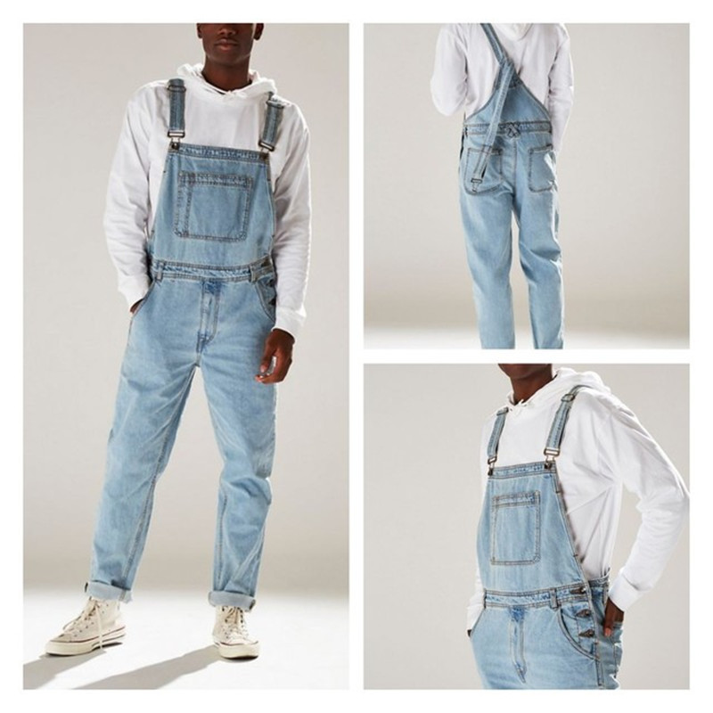 Rompers Suit Men Jeans Jumpsuit 2019 New Autumn Winter Cotton Casual Male Denim Pants Overalls Playsuits Clothes Plus Size
