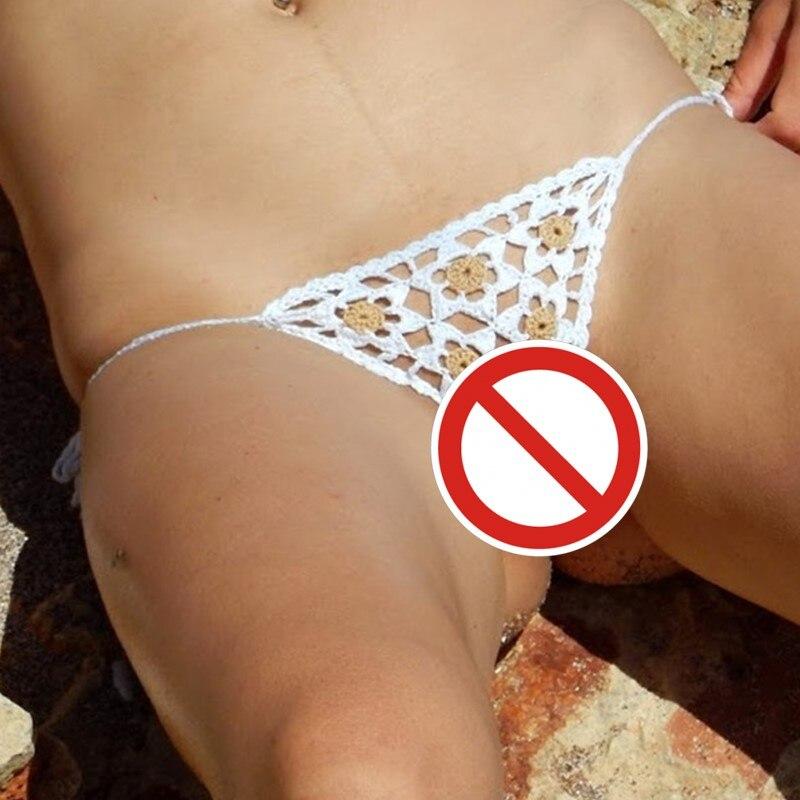 Hand Crochet Lace Thong String Applique Mini Bikini Swimwear Sunbathing Bikini