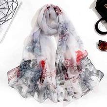 Four Seasons Thin Soft Pastoral Scarf Wild Georgette Gradient Color Sunscreen Printing Flower Multicolor Decorative Shawl A51