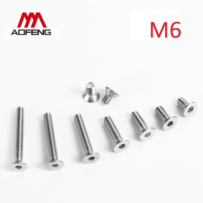 304 Stianless Steel M6 Hexagon Socket Countersunk Flat Cap Head Screw M6 x 8 10 12 14 <font><b>18</b></font> 20 35 40 45 50 70 80 <font><b>90</b></font> 100mm image