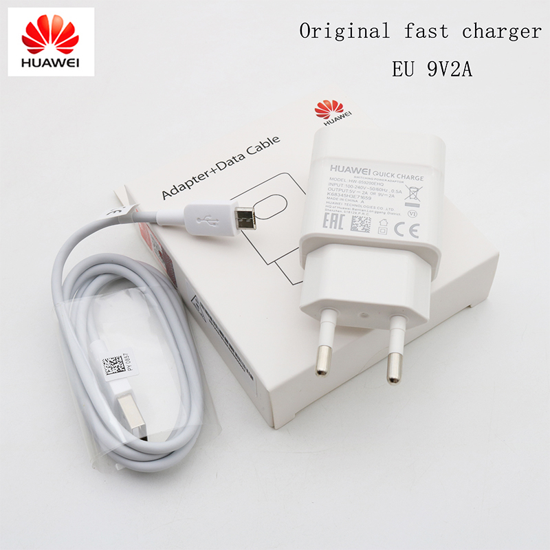 Original huawei carregador 5 v/2a 9 v/2a adaptador de carga rápida micro cabo usb para p8 p9 p10 lite companheiro 10 lite honra 8x 7x y5 y6 y7 y9