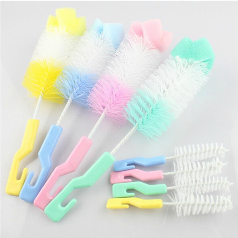 2pcs/set Baby Bottle Brushes Nipple Brushes Spout Tube Teat Sponge Baby Feeding Bottle Cleaning Brush Set Cup Brush