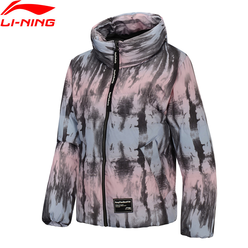 Li-Ning Women The Trend Short Down Coat 70% Grey Duck Down Warm Loose Fit Polyester LiNing Hooded Winter Jackets AYMP044 WWY406