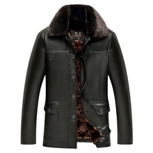 Mens Leather Jacket Winter Coat Faux Fur Coats Pu Jackets Motorcycle