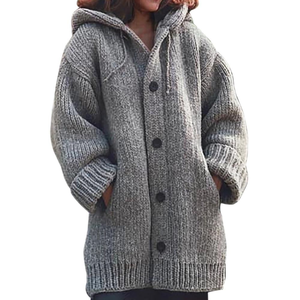 Solid Oversize Cardigan Knited Outwears Casual Winter Fashionable Hooded Sweaters 2019 Women Knitwears Autumn Womens Sweaters