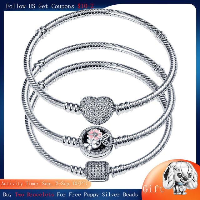 CodeMonkey Hot Sale Classic Series 100% 925 Sterling Silver Heart Bracelet Fit Original Beads Charms DIY Jewelry Gift For Women 1