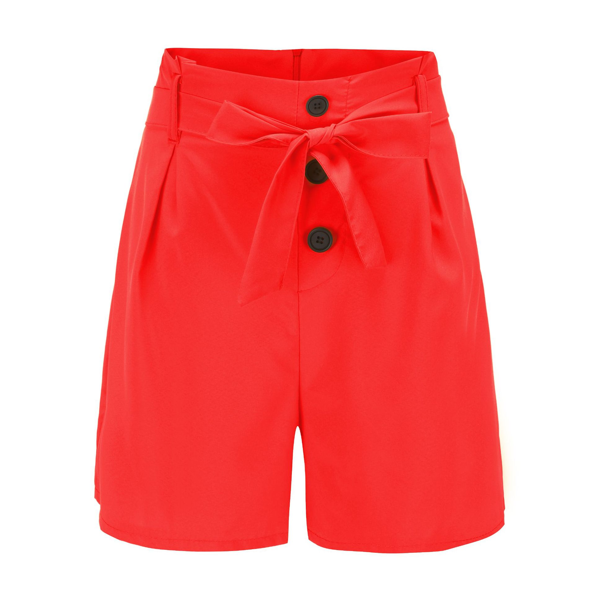 ONCE Women Shorts High Waist Buttons Sashes Elegant  Summer Zip-Up Skinny Shorts Solid Plus Size Pockets Summer Casual Shorts 8