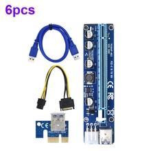 6 adet yeni VER008C Molex 6 pin PCI Express PCIE PCI-E yükseltici kart 008C 1X to 16X genişletici 60cm USB3.0 kablo madencilik Bitcoin madenci
