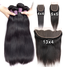 Human Hair Straight 3 4 Bundles With Lace Closure Frontal 4x4 5x5 Human Hair Extensions