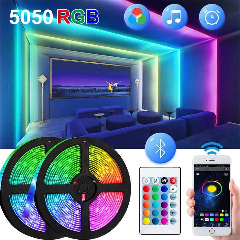2 м 3 м 5 м 10 м Bluetooth Светодиодные ленты светильник Гибкая лампа 15 м/20 м Светодиодная лента диод поверхностного монтажа 5050 фон стены ТВ фон свет...