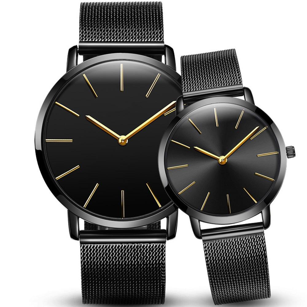 Luxury Couple Watch  Fashion Business Calendar Watches Blue Stainless Steel Mesh Belt Analog Quartz Watch Relogio Masculino #5