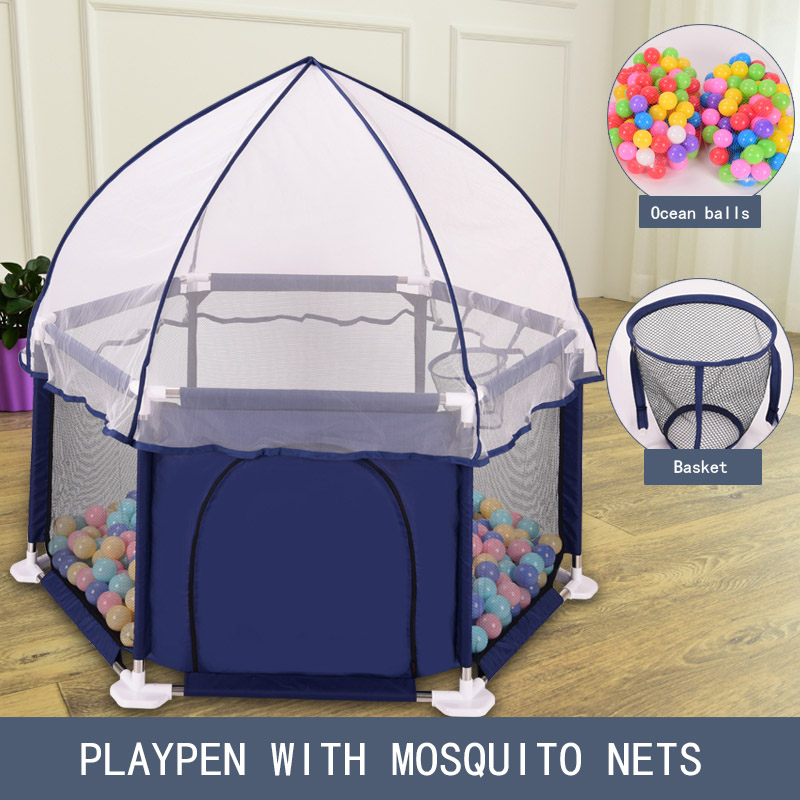 Baby Playpen with Mosquito Nets Basket Kids Pool Balls <font><b>Children</b></font> Playpen Ball Pool for Baby Fence Kids Tent Indoor Playground image
