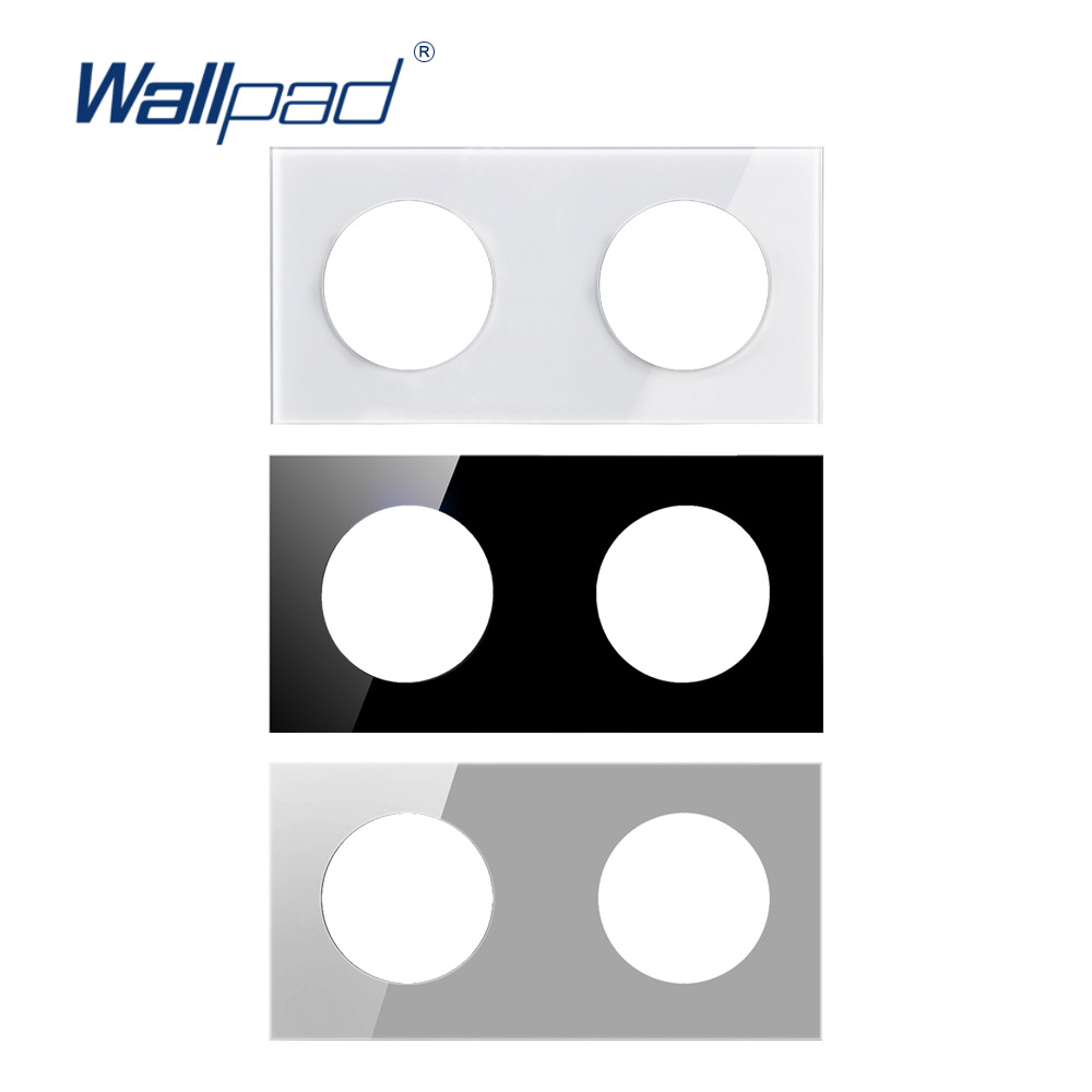 Wallpad Double Tempered Glass Panel Only 172*86mm White And Black Round Circle