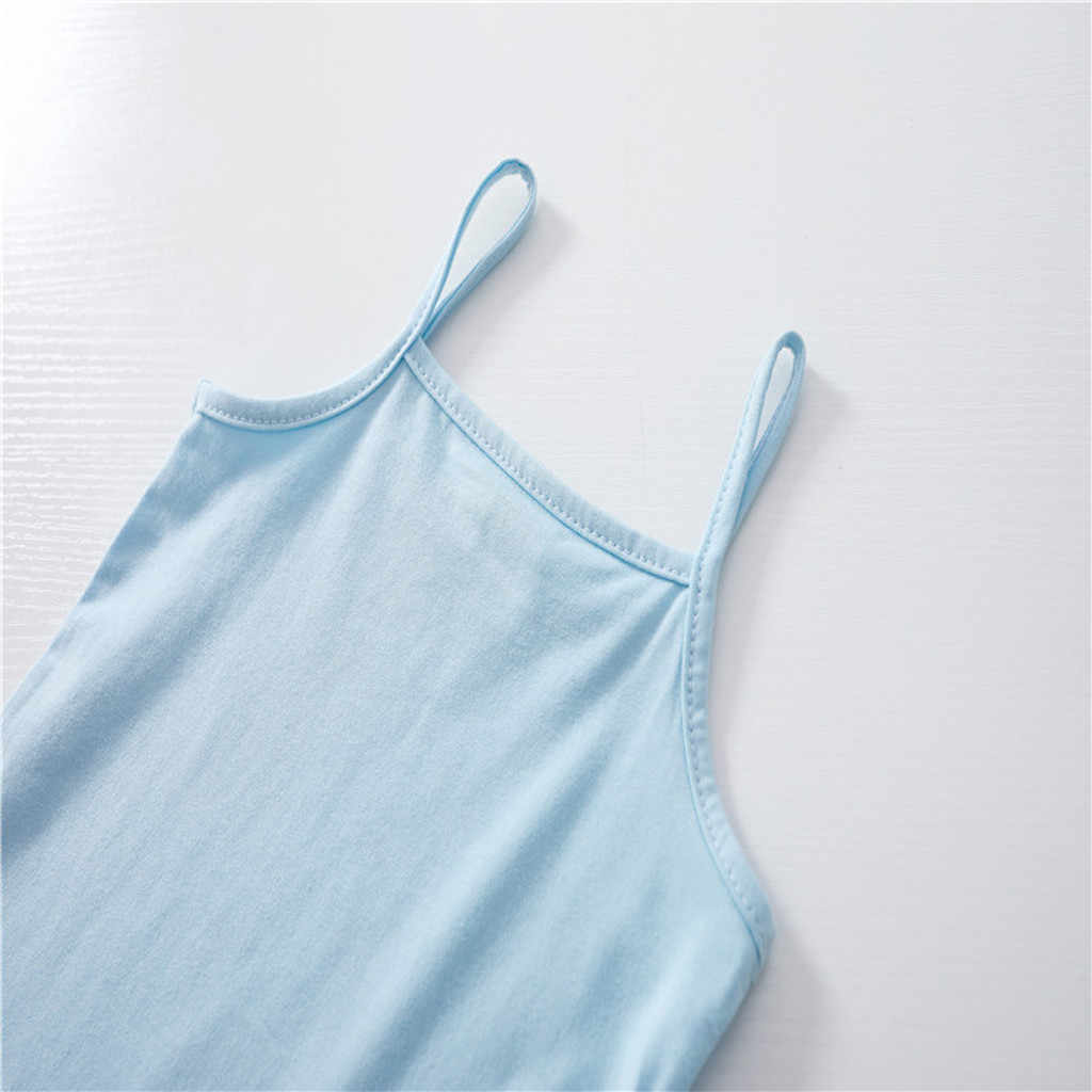 Été enfants garçons filles T-Shirts sans manches couleur bonbon hauts pour enfant coton imprimé col carré fronde gilet enfants vêtements