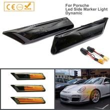 2Pcs LED Dynamische Seite Marker Lichter Blinker Blinker Lampen Für Porsche 911 Carrera 997 Boxster 987 Cayman Turbo targa GT2
