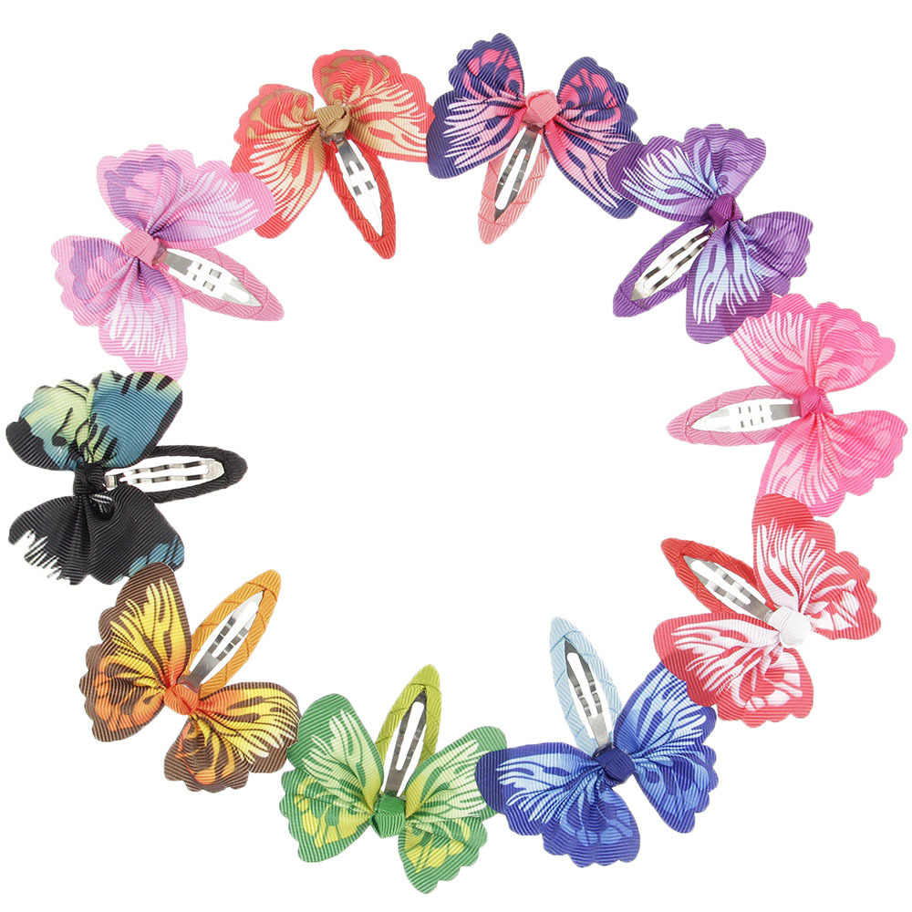 2pcs/lot Butterfly Hair Ribbon Bows Hair Clip Bows Baby Girls Hairpins Children Toddler Newborn Birthday Gifts Photography Props