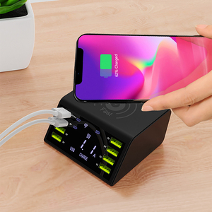 Image 2 - חדש רב 8 יציאת Lcd USB צ י מטען אלחוטי עבור Iphone X 8 בתוספת תשלום מהיר 3.0 מהיר מטען עבור סמסונג S10 S9 S8 Xiaomi Mi 9