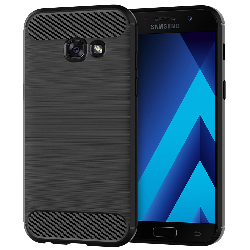 Silicone Phone Case For <font><b>Samsung</b></font> <font><b>Galaxy</b></font> <font><b>A5</b></font> A3 A7 <font><b>2017</b></font> Soft Carbon Fiber Cover A 3 5 7 SM A320F <font><b>A520F</b></font> A720F SM-A720F SM-<font><b>A520F</b></font> DS image