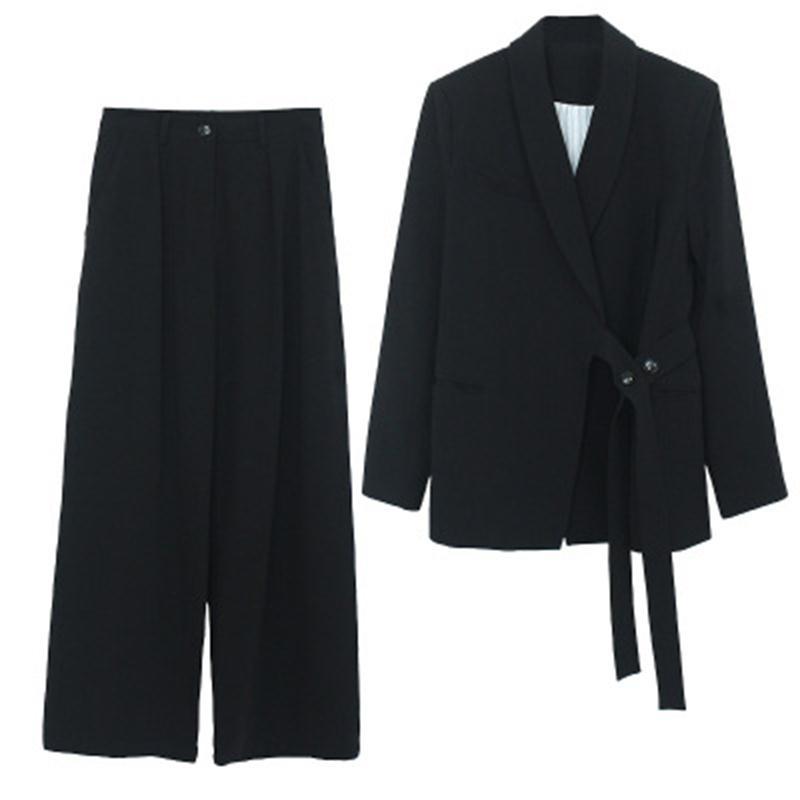 Fashion Suit Suit Female Spring Fall New Increase Size Casual Business Suit + Wide Leg Pants Two-piece Suit Women Size XL-5XL