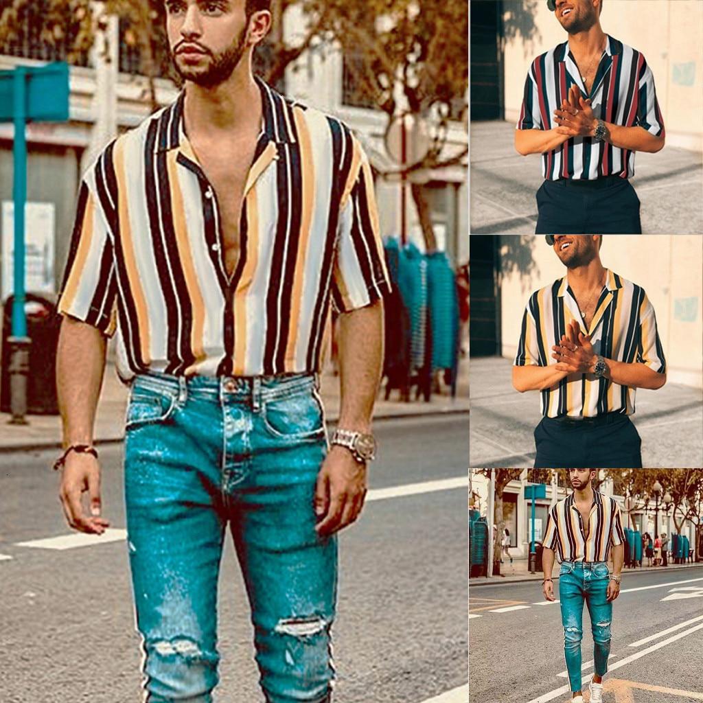 Men Stripe Shirt Summer Casual Striped Short-sleeve Button Up Turn Down Collar Top Blouse Shirt Camisa De Rayas Hombre #20