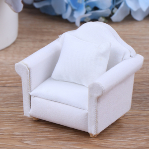 Image 3 - 1:12 Doll house Furniture Dot plaid Flower Chair Sofa with pillow Sweet Furniture for doll house armchair Toys Gift