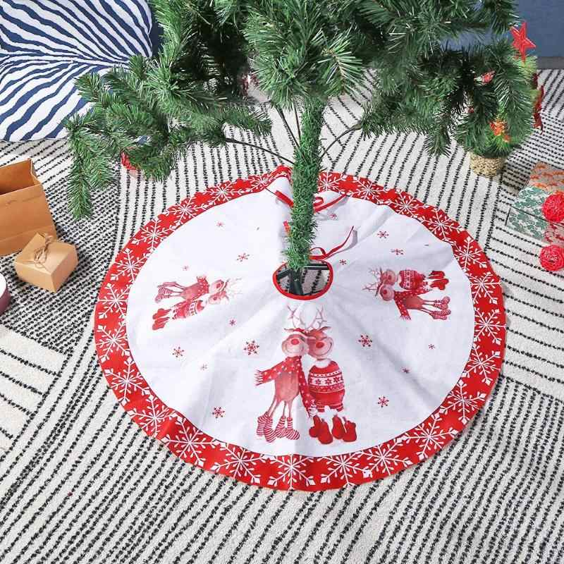 Non-woven Christmas Tree Skirts Xmas Tree Snowflake Ornaments Holiday Decoration Foot Cover Carpet Mat Home Accessory