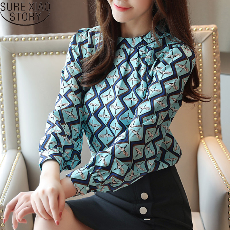 Korean Fashion Clothing Casual Long Sleeve Chiffon Blouse Women Print O-neck Blouse White Black Autumn Tops 6053 50