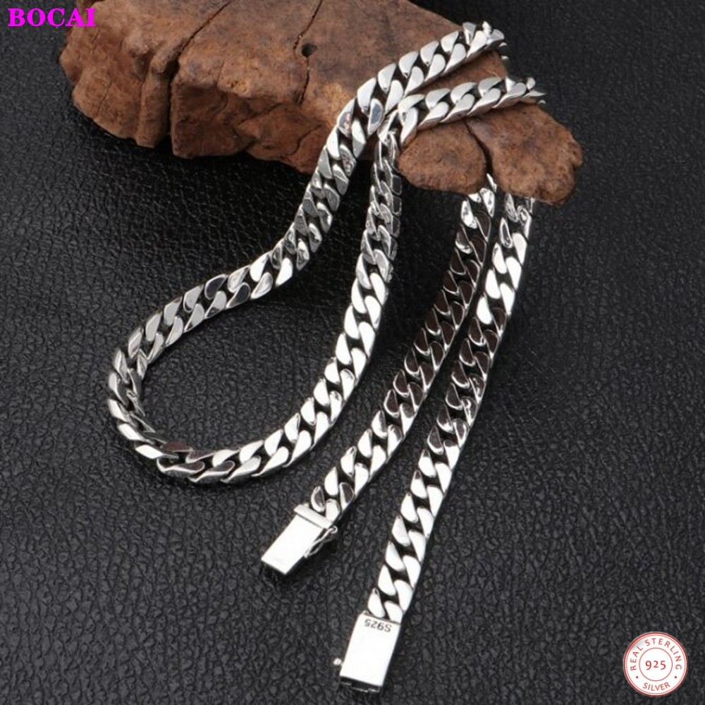 BOCAI100% Real S925 Sterling Silver Jewelry Personality Simple Popular Thai Silver Retro 8mm Thick Models Men And Women Necklac