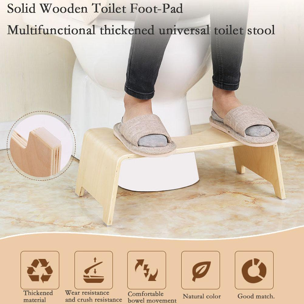 Wooden Toilet Seat Footstool Household Toilet Stool Anti-Skid Heightened Thickened Stool For Children Pregnant Women Old People