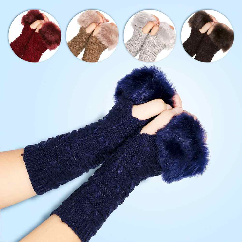 Lady Solid Color Half Finger Thumb Hole Knitted Gloves Fuzzy Arm Wrist Warmer Woolen Faux Fur Winter Gloves Chic Thumb Cover