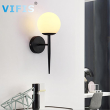 Modern style E27 LED wall lamps Nordic glass ball wall lights for corridor Bedroom bedside lamp Wall Sconces AC85-265V