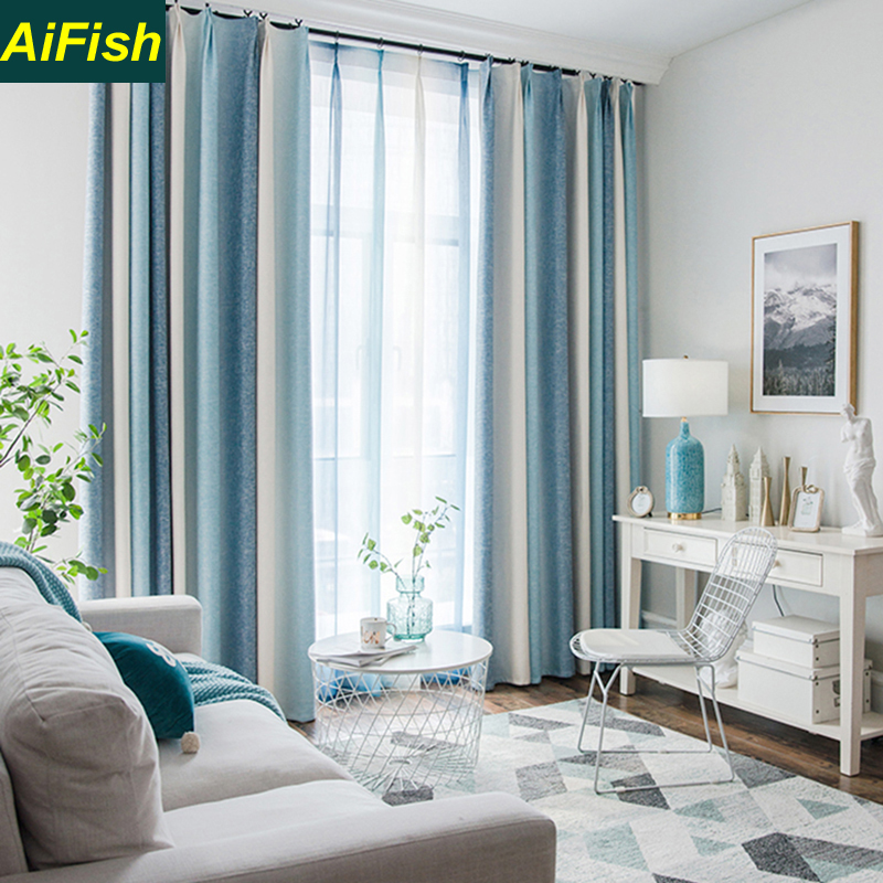 Color Stripes Shade Curtains For Living Room Bedroom Kitchen Curtains Tulle Set Custom Mediterranean Style Home Decor Wp109#40