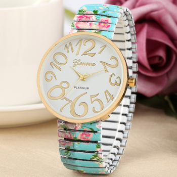 Fashion Printing Pattern Dial Watch for Ladies Casual Quartz Analog Clock Female Blue Bracelet Wristwatch Women orologio donna ladies mest band bracelet watch women luxury watch women fashion casual quartz watch analog lady woman wristwatch orologi donna