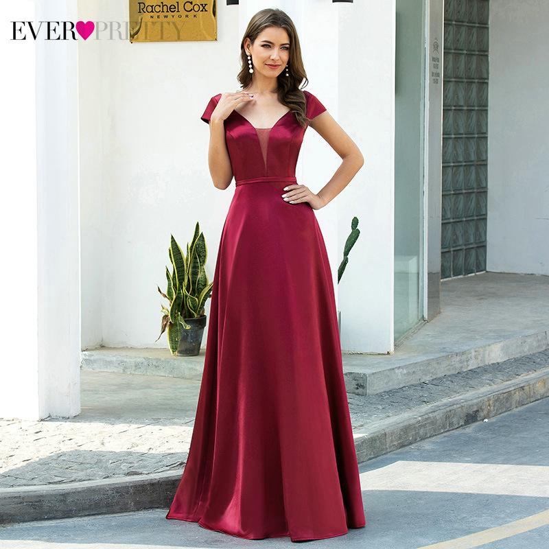 Burgundy Prom Dresses Ever Pretty EP00651BD A-Line Ruched Double V-Neck Cap Sleeve Elegant Satin Party Gowns Vestido Longo 2020